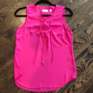 Hot Pink Lace Up Blouse